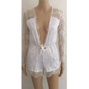 White Lace Front Knot Plunging Deep V White Romper